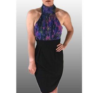 Eliza J Silk Halter Neck Dress